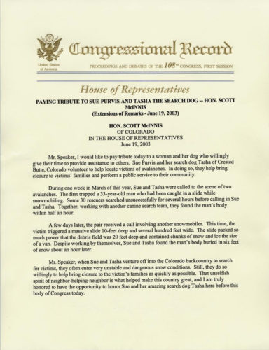 Congressional Record Tribute to Sue Purvis