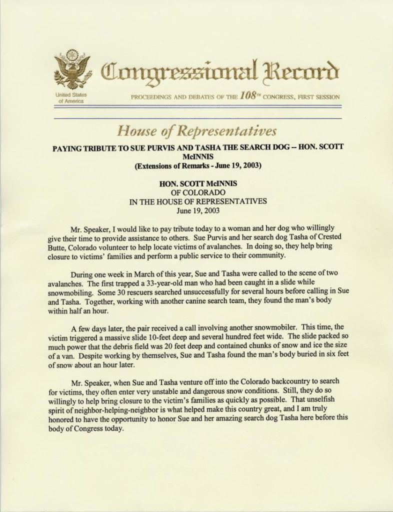 Congressional Record Tribute to Sue Purvis